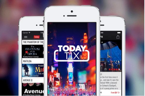 iphone open to TodayTix's mobile site