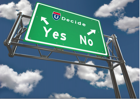 Traffic sign with option yes to go left and no to go right