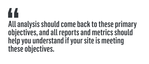 "Quote that reads, ""All analysis should come back to these primary objectives, and all reports and metrics should help you understand if your site is meeting these objectives."""