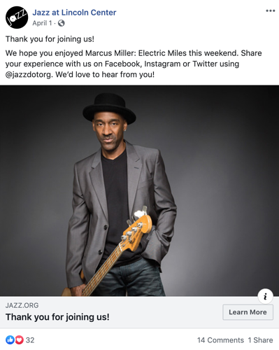 Jazz at Lincoln Center Facebook post thanking patrons for joining them to see Marcus Miller: Electric Miles and encouraging patrons to share their experience
