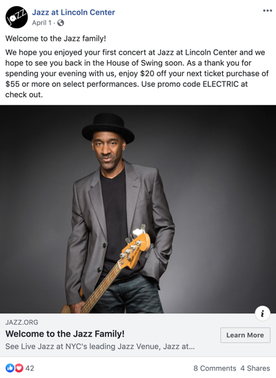 Jazz at Lincoln Center Facebook post welcoming patrons to the Jazz family after their first concert and thanking patrons with $20 off their next ticket purchase