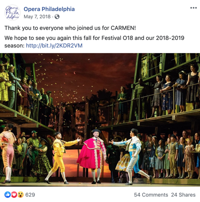 Opera Philadelphia Facebook post thanking patrons for attending their performance, Carmen