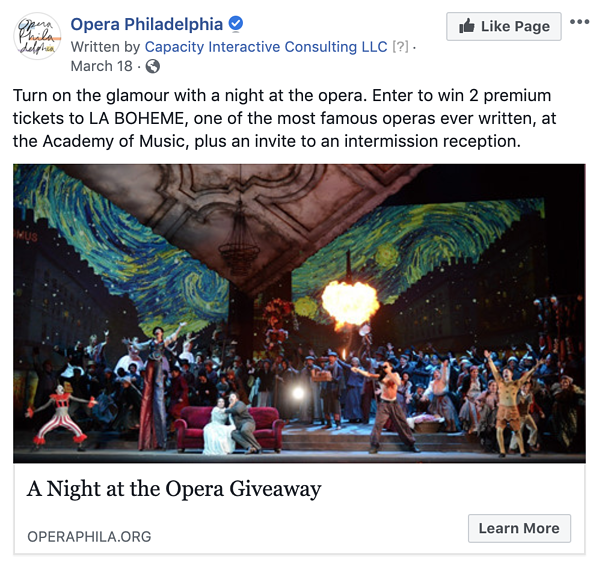 Version 1 of Opera Philadelphia's Facebook lead ad highlighting a contest where users can win two tickets to La Bohème and an invite to an exclusive intermission reception