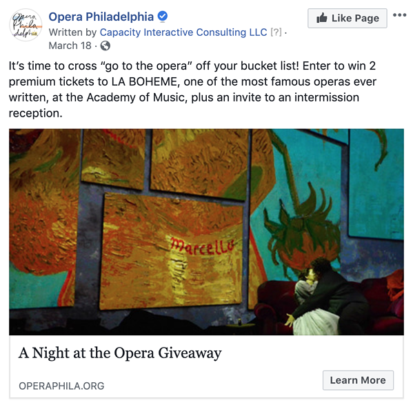 Version 2 of Opera Philadelphia's Facebook lead ad highlighting a contest where users can win two tickets to La Bohème and an invite to an exclusive intermission reception