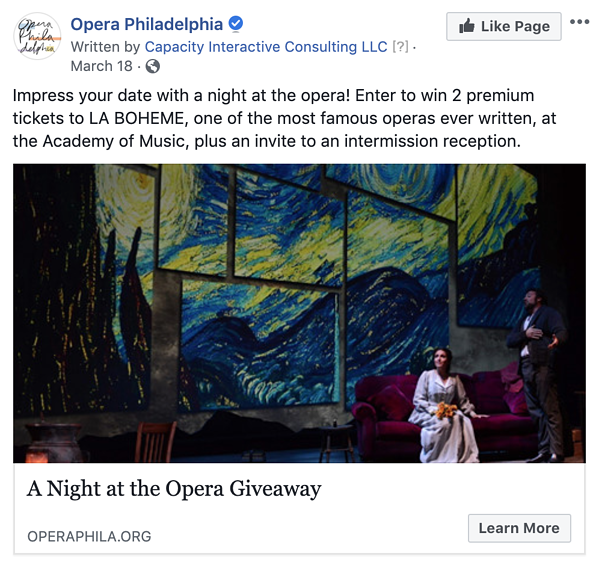 Version 3 of Opera Philadelphia's Facebook lead ad highlighting a contest where users can win two tickets to La Bohème and an invite to an exclusive intermission reception
