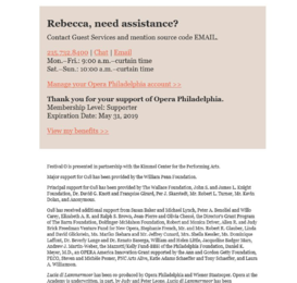 Screenshot of an email from Opera Philadelphia featuring a section at the bottom for personalized assistance