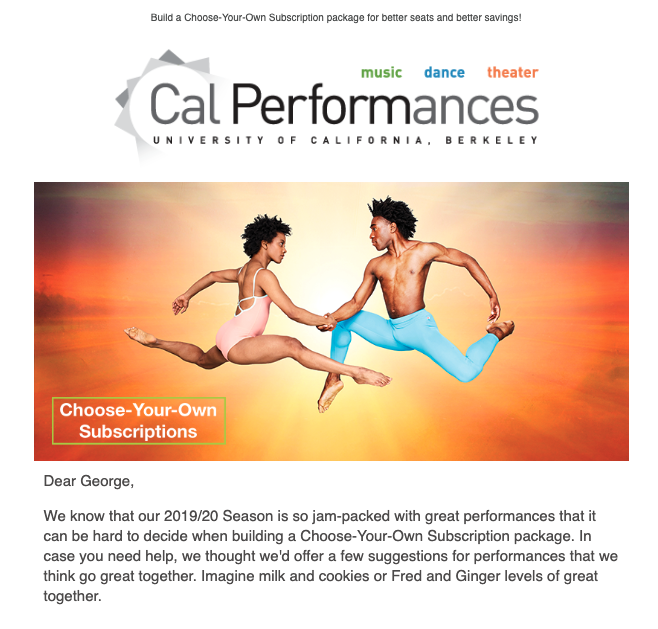 """Screenshot of an email from Cal Performances featuring a personalized """"First Name"""" token in the opening paragraph"""