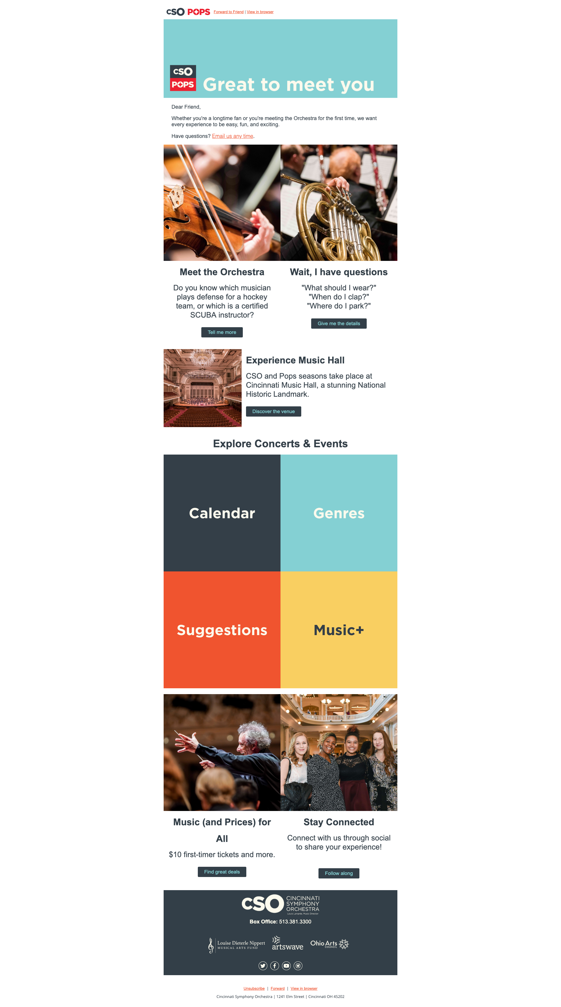 Screenshot of an email from Cincinnati Symphony Orchestra showing the first email in their welcome cascade