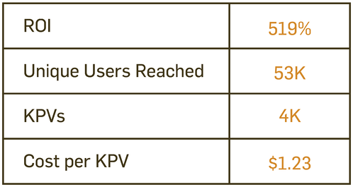 Visual depicting the ROI, unique users reached, KPVs, and cost per KPV for the campaigns