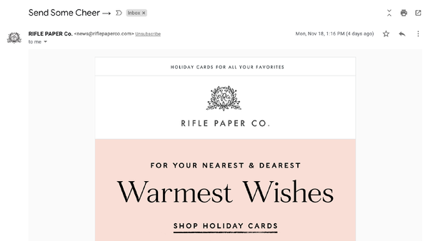 Example of Rifle Paper CO.'s holiday email teasing their gif guide