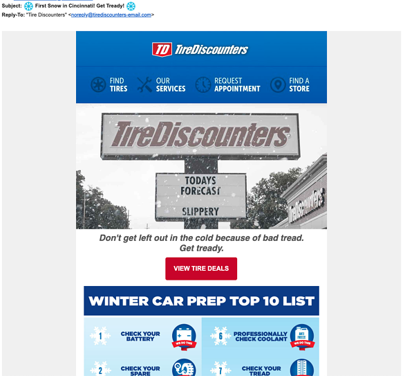 Example of Tire Discounters email embracing the cold weather as a way to connect with local users