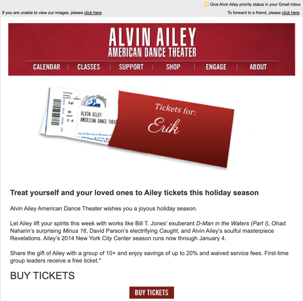 Example of Alvin Ailey's email personalized with imagery of tickets for the user