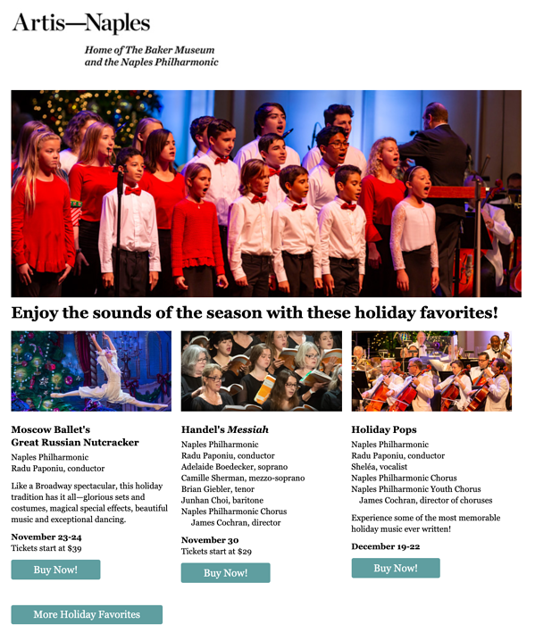 Example of Artis-Naples email featuring holiday photos of their performances