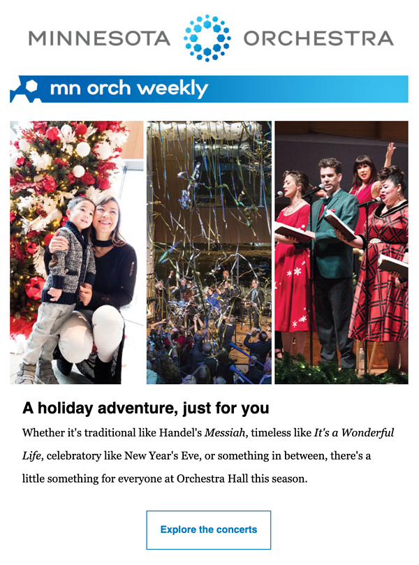 Example of Minnesota Orchestra email featuring holiday photos of their performances