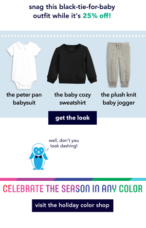 Example of Primary.com's email featuring cozy baby clothing
