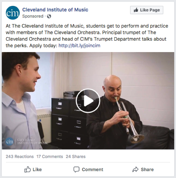 Cleveland Institute of Music Facebook Ad: At The Cleveland Institute of Music, students get to perform and practice with members of The Cleveland Orchestra. Principal trumpet of The Cleveland Orchestra and head of CIM's Trumpet Department talks about the perks. Apply today: http://bit.ly/joincim