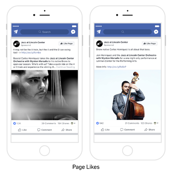"Image with mobile phone examples of ""Page Likes"""