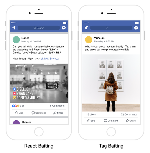 "Image with mobile phone examples of both ""React Baiting"" and ""Tag Baiting"""