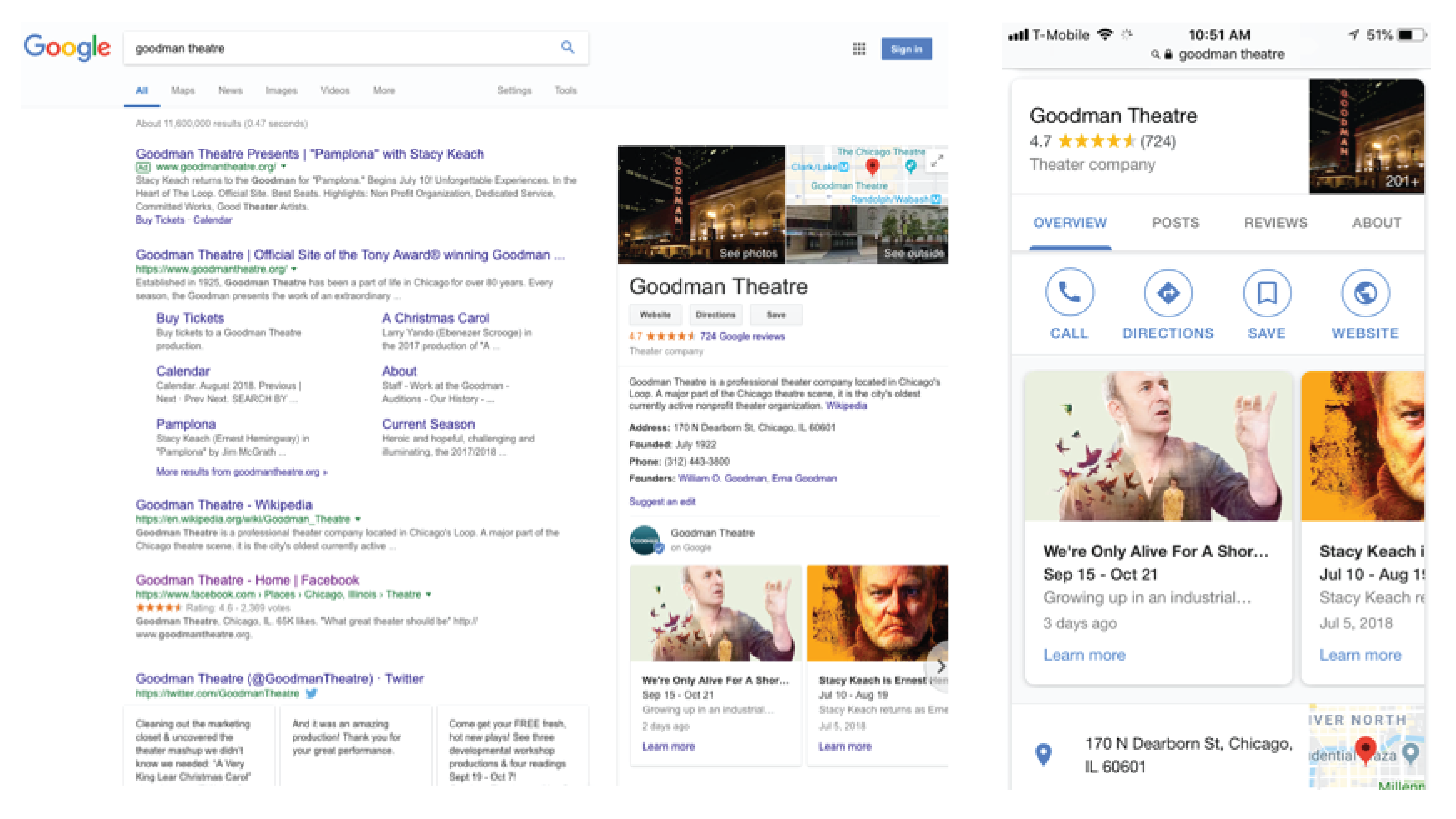 Google My Business for The Goodman Theatre (left: desktop; right: mobile)