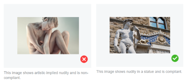 Commonly Disapproved Content: Nudity/Sexuality