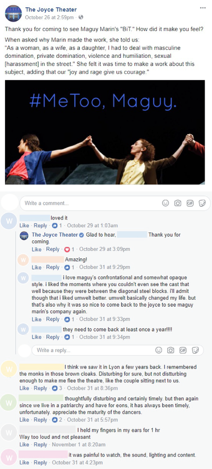 The Joyce Theater's post with comments served to Female Identifying Patrons