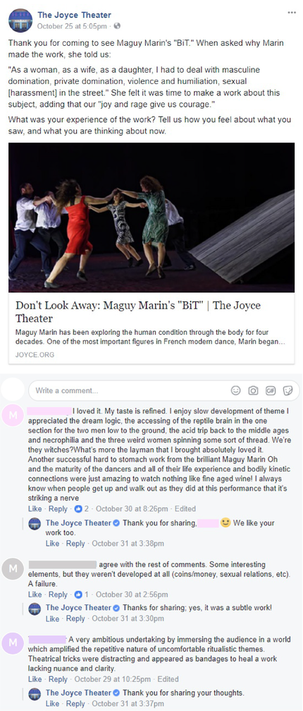 The Joyce Theater's post with comments served to Male Identifying Patrons