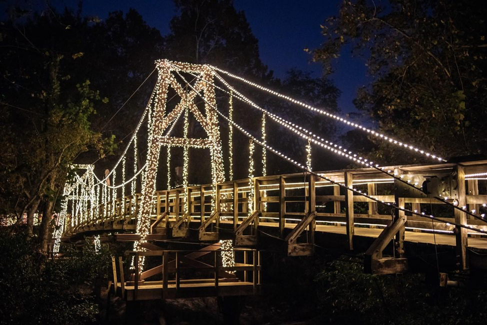 Photo of the Inside of the bridge taking visitors to The MFAH's Christmas Village