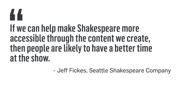 "QUOTE: ""If we can help make Shakespeare more accessible through the content we create, then people are likely to have a better time at the show."" -Jeff Fickes, Seattle Shakespeare Company"
