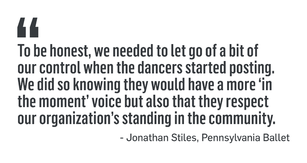 "PULL QUOTE: ""To be honest, we needed to let go of a bit of our control when the dancers started posting. We did so knowing they would have a more 'in the moment' voice but also that they respect the organization's standing in the community."" - Jonathan Stiles, Pennsylvania Ballet"