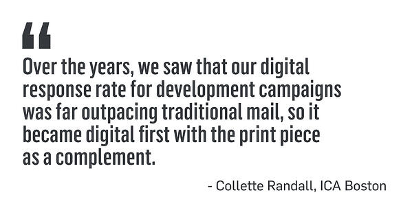 Over the years we saw that our digitalresponse rate for development campaignswas far outpacing traditional mail, so itbecame digital first with the print pieceas a complement. - Collette Randall, ICA Boston